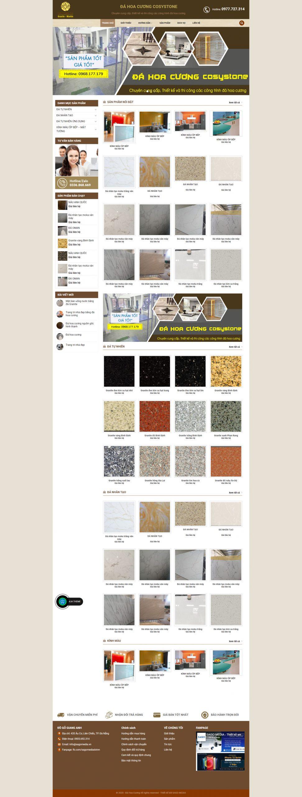 Mẫu website bán đá nhân tạo - đá tự nhiên