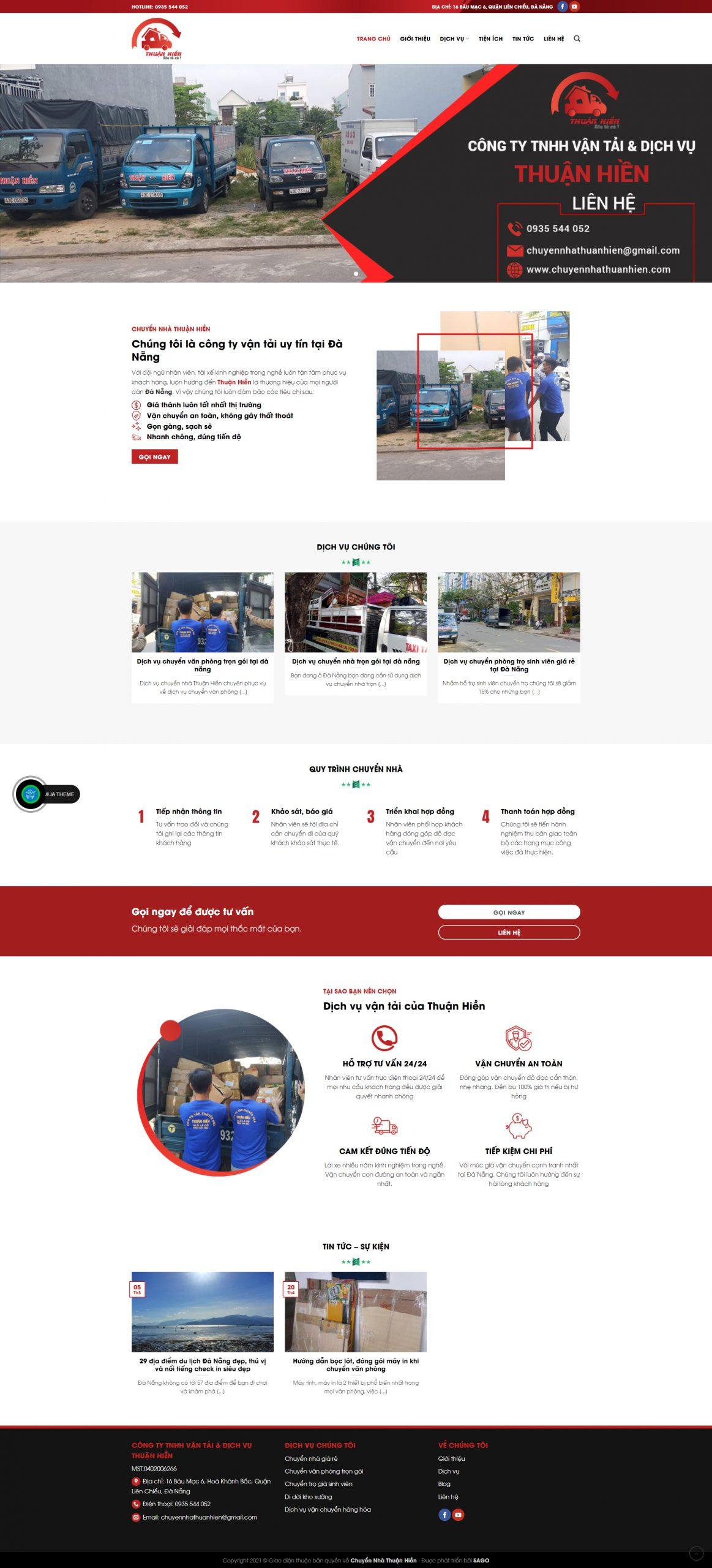 Mẫu website giới thiệu dịch vụ vận tải Thuận Hiền